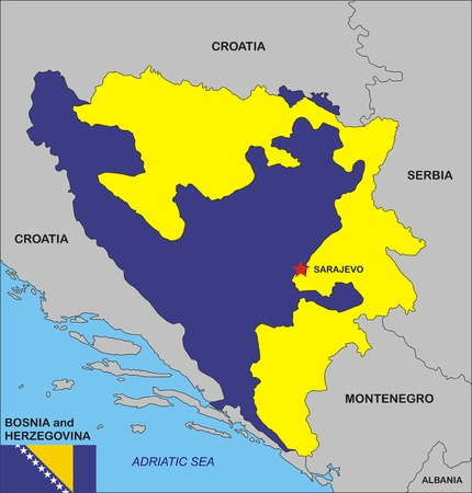 Political Map Of Bosnia And Herzegovina Country With Flag ...