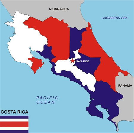 political map of Costa Rica country with flag illustration illustration