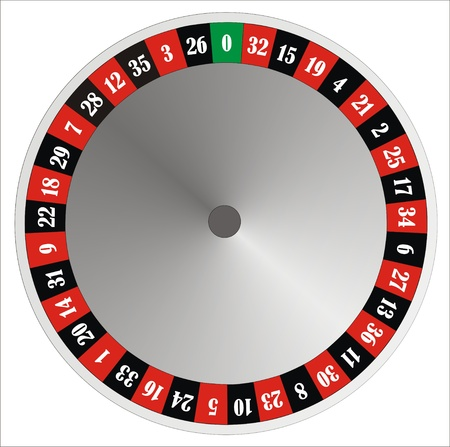 roulette: computer generated roulette wheel with numbers and colours Stock Photo