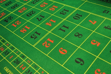 roulette table: real live casino roulette green layout with numbers Stock Photo