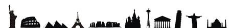 many world wonders illustration black and white silhouettes Stock Illustration - 12061276