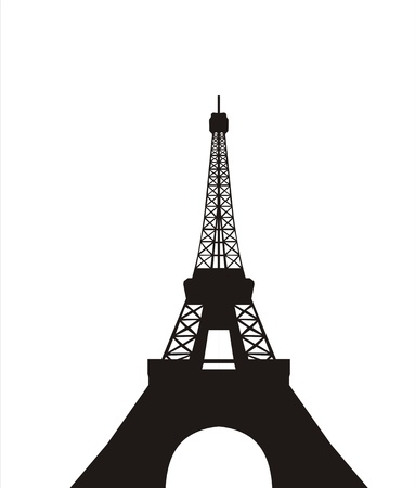 very big size eiffel tower black silhouette illustration Banco de Imagens