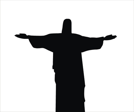 very big size jesus christ statue black silhouette illustration Stock Illustration - 12061258