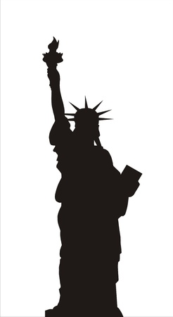 liberty: very big size statue of liberty black silhouette illustration Stock Photo