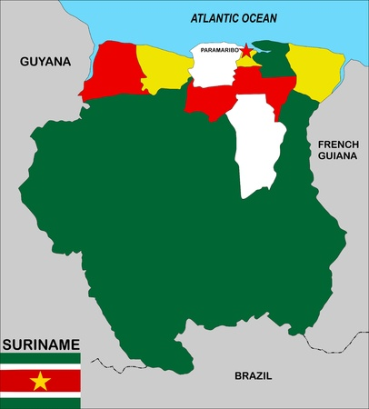 suriname: very big size suriname political map illustration
