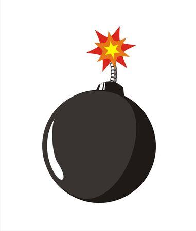 camber: big size old style black bomb with burning fuse illustration