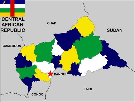 very big size central african republic political map illustration illustration