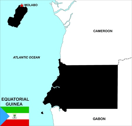 very big size equatorial guinea political map illustration Stock Illustration - 12200280