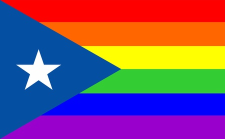 very big size gay proud flag illustration puerto rico Stock Photo