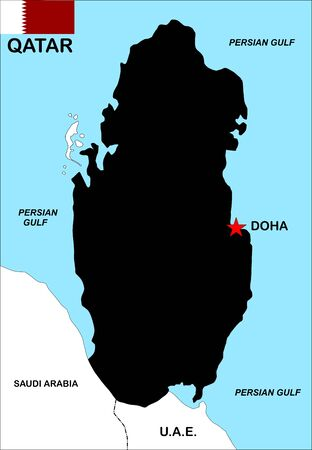 very big size qatar political map illustration illustration