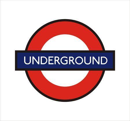 지하에: 매우 큰 크기 런던 지하철 기호 그림 에디토리얼