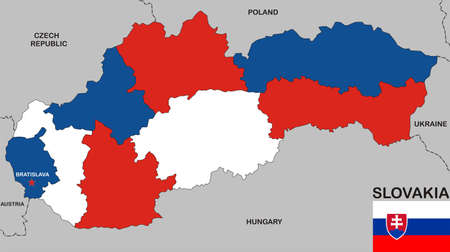 big size: very big size slovakia political map with flag