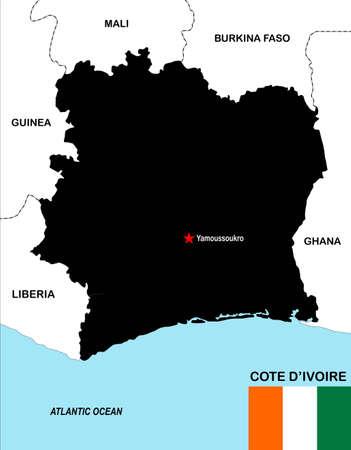 cote d ivoire: big size political map of cote d ivoire with flag