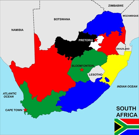 big size political map of south africa with flag photo