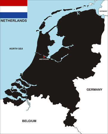 very big size black map of netherlands with flag photo