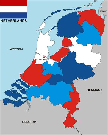 very big size political map of netherlands with flag photo