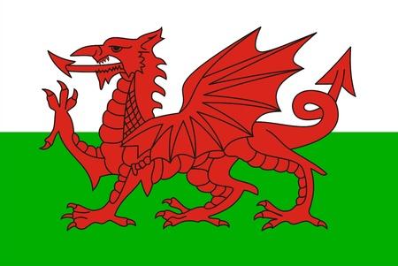 非常に大きなサイズのウェールズの国の旗の図