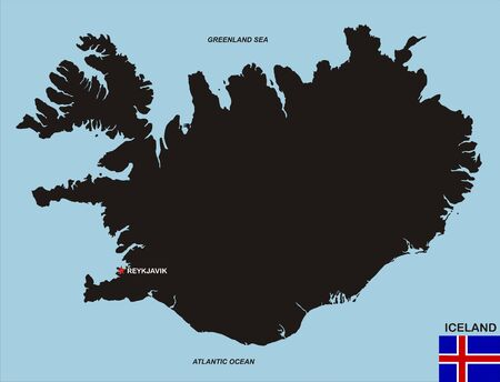 very big size black map of iceland with flag photo
