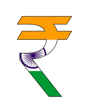 very big size india rupee symbol with flag