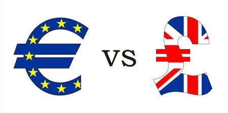 european euro versus british pound money symbols illustration Banco de Imagens
