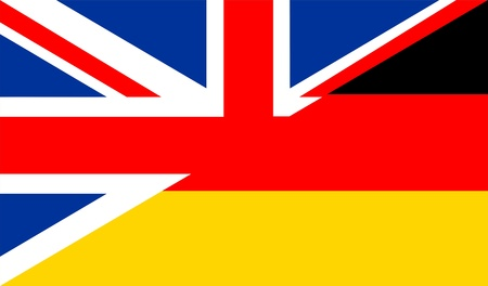 english dictionary: very big size half united kingdom half germany flag