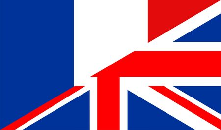 very big size half united kingdom half france flag photo
