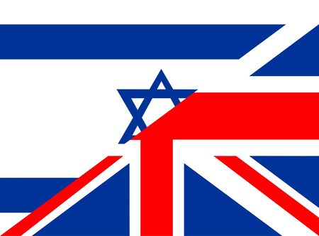 very big size half united kingdom half israel flag photo