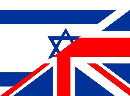 very big size half united kingdom half israel flag