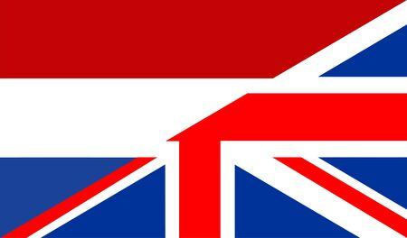 very big size half united kingdom half netherlands flag