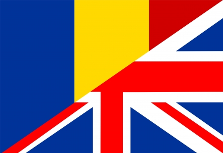 very big size half united kingdom half romania flag photo