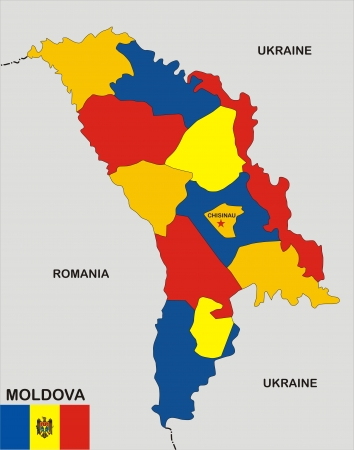 very big size moldova political map with flag photo