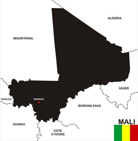 bamako: very big size mali black map with flag