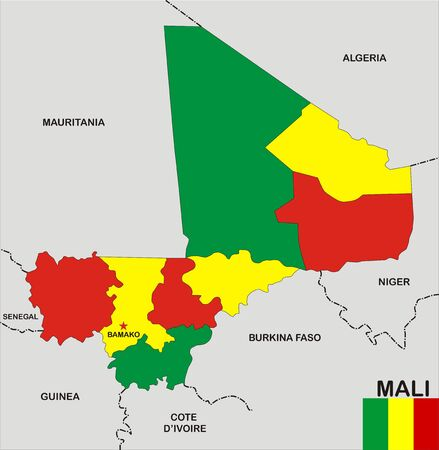 very big size mali political map with flag photo