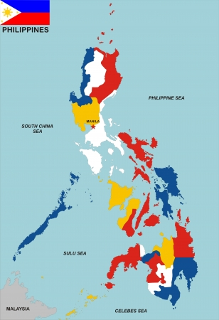 philippines map: very big size philippines political map with flag