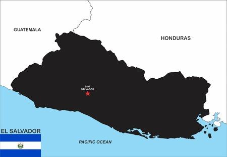 mapa de el salvador: tamaño muy grande El Salvador negro mapa de la ilustración