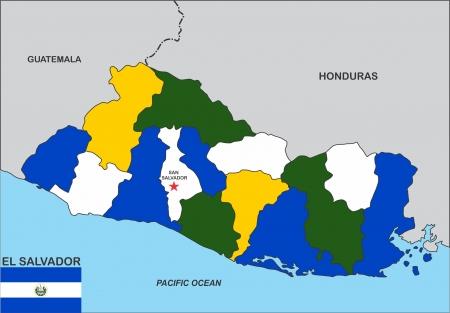 el salvador: very big size el salvador political map illustration