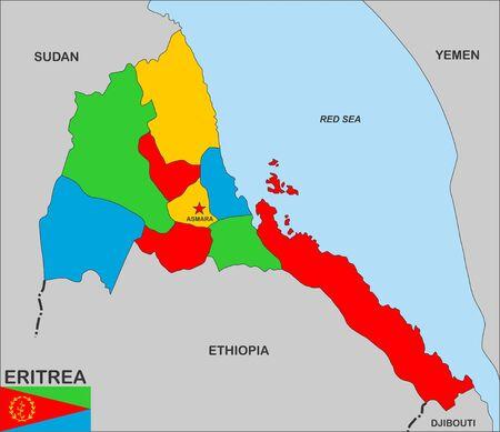 eritrea: very big size eritrea country political map