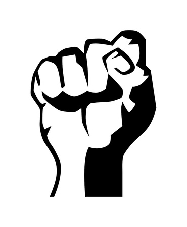 struggling: very big size raised fist black and white illustration