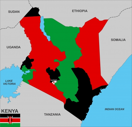 very big size kenya country political map photo