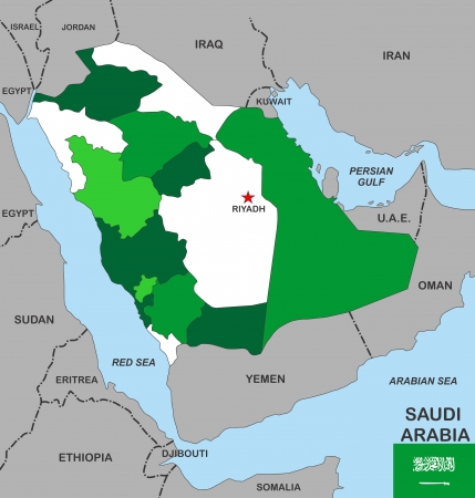 big size political map of saudi arabia with flag photo