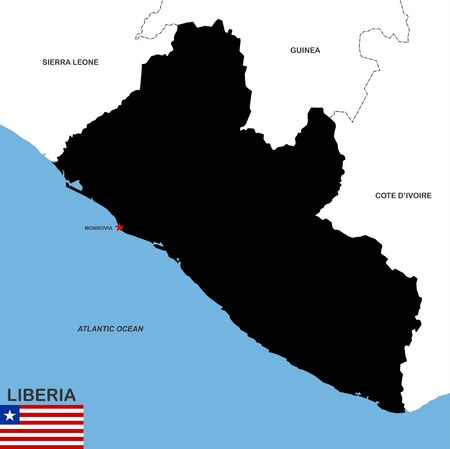 very big size liberia black map illustration illustration