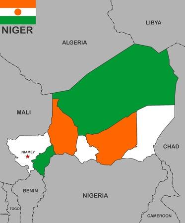 very big size niger political map illustration illustration