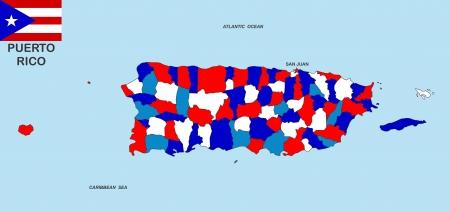 bandera de puerto rico: tama�o muy grande Puerto Rico ilustraci�n mapa pol�tico