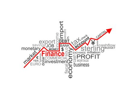 interst: Word cloud concept illustration of money finance with arrow