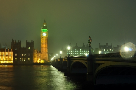 The houses of parliament and Big Ben illuminated at night photo