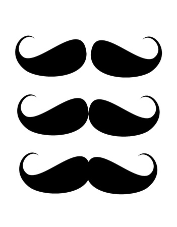 three black mustaches over white background illustration Stock Photo