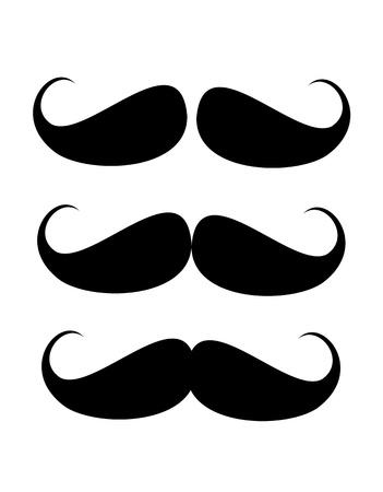 three black mustaches over white background illustration Foto de archivo