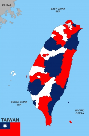 very big size taiwan political map with flag Stock Photo - 16664090