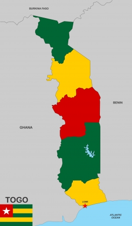 very big size togo political map with flag photo