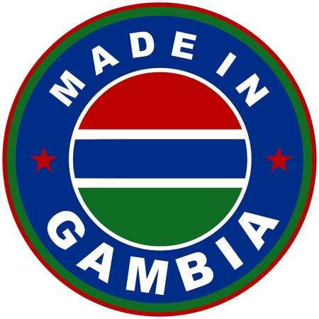 very big size made in gambia country label Stock Photo
